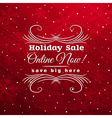 red christmas background with label for sale vector image vector image