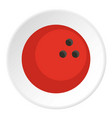 red marbled bowling ball icon circle vector image vector image