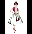 retro stylish fashion dressed girl vector image vector image