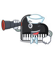 sailor with binocular piano mascot cartoon style vector image