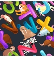 seamless pattern animals alphabet for kids abc vector image vector image