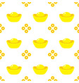 seamless pattern chinese gold ingots and coins vector image vector image