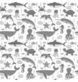 seamless pattern with cartoon sea life animals vector image vector image