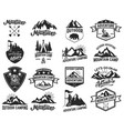 set camping emblems isolated on white vector image vector image