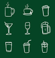 set chalk doodle drinks icons vector image vector image