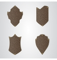Set of four brown leather shield with gold thread vector image vector image