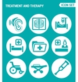 set of round icons white Treatment and therapy vector image vector image