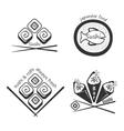 Set of sushi logosbadges labels and design vector image vector image