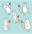 set rabbits with carrots vector image