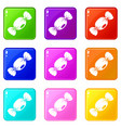 small candy icons 9 set vector image vector image