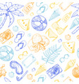 summer seamless pattern with beach elements vector image