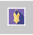 Swimsuit flat stamp with long shadow vector image
