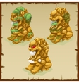 Three Golden statues of a lion dirty and cleaned vector image