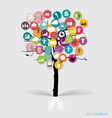 Tree with cloud of colorful application vector image vector image