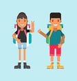 Two Tourists with Backpacks Standing and Smiling vector image vector image