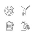 vaccination and immunization linear icons set vector image vector image
