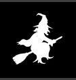 witch flying on broomstick template vector image vector image