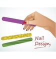 Woman hand holding a nail file vector image