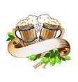 wooden beer mugs still life vector image vector image