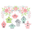 Flowers With Bird Houses vector image