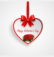 valentine greeting card with heart and red ribbon vector image