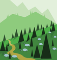 Abstract landscape design with green trees hills vector image