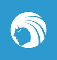 Beauty girl face icon white on the blue background vector image