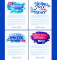 big winter sale discount off new offer posters set vector image vector image