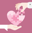 bride and grooming hands holding heart jigsaw vector image vector image
