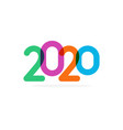 bright colored 2020 numbers modern event vector image vector image