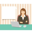 business woman sitting at office desk vector image vector image