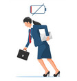 businesswoman character tired low battery vector image