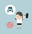 businesswoman try to brake piggy bank for vehicle vector image vector image