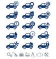 Car service icons blue set