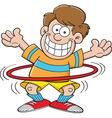 Cartoon boy with a hula hoop vector image vector image