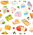 cartoon dairy and cheese products pattern vector image vector image