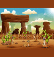 cartoon meerkats enjoying on the desert vector image vector image