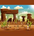 Cartoon meerkats enjoying on the desert