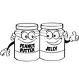 cartoon peanut butter and jelly jars vector image vector image