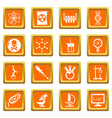 chemistry laboratory icons set orange square vector image vector image