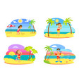 childrens activity on beach summertime vector image vector image
