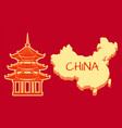 china poster with building and country vector image vector image