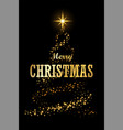christmas tree card black background gold vector image