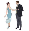 couple on party in vintage style 1920s vector image vector image