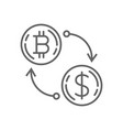 dollar currency exchange bitcoin thin line symbol vector image vector image