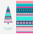 ethnic style tree and seamless background set vector image