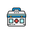 first aid kit medical bag medicine for donations vector image vector image
