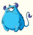 Funny cartoon fluffy blue monster vector image