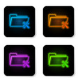 glowing neon folder with screwdriver and wrench vector image vector image