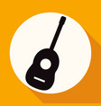 guitar icon on white circle with a long shadow vector image vector image